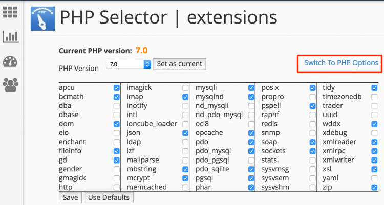 Switch to PHP extensions
