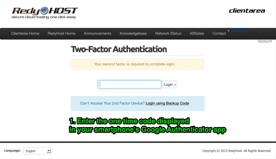 The 2-factor authentication screen is present