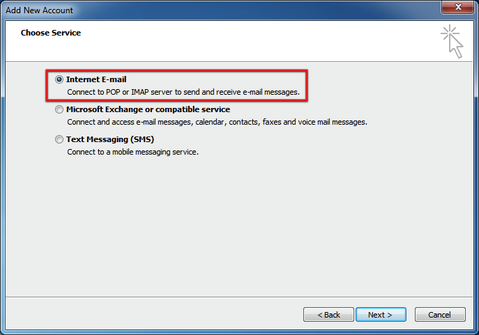 Select Internet email MS Outlook 2010