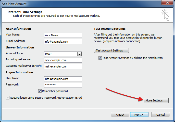 More settings MS Outlook