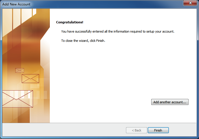 Finished configuration IMAP MS Outlook