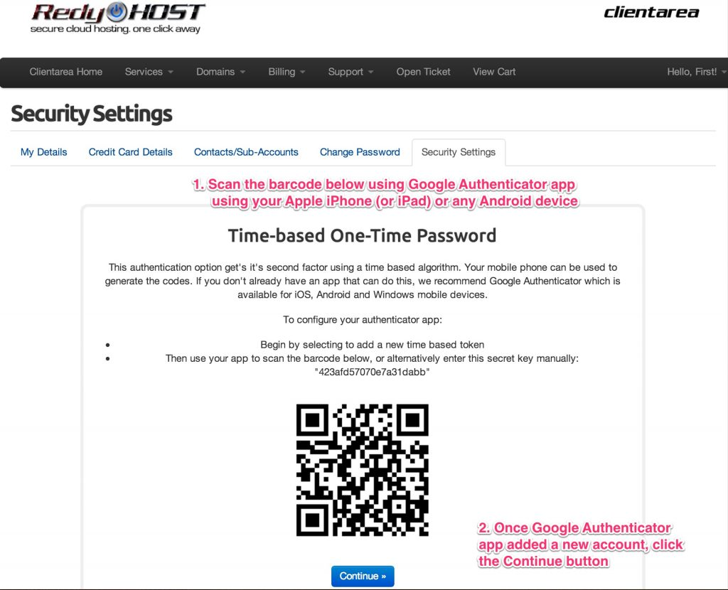 Scan barcode to activate your mobile device