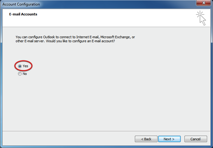 Begin configuration of MS Outlook 2010 IMAP
