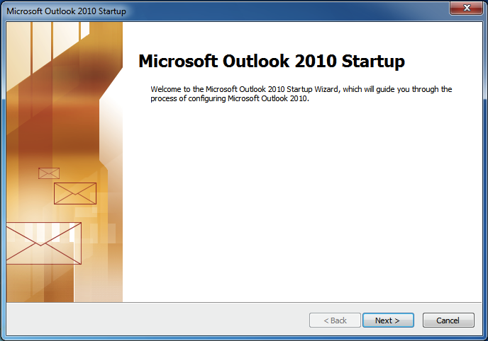 Begin configuring MS Outlook IMAP