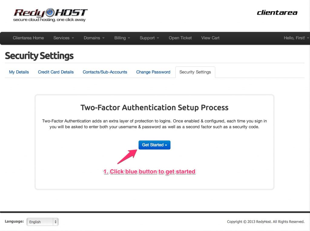 Enable 2-factor authentication in RedyHost client area