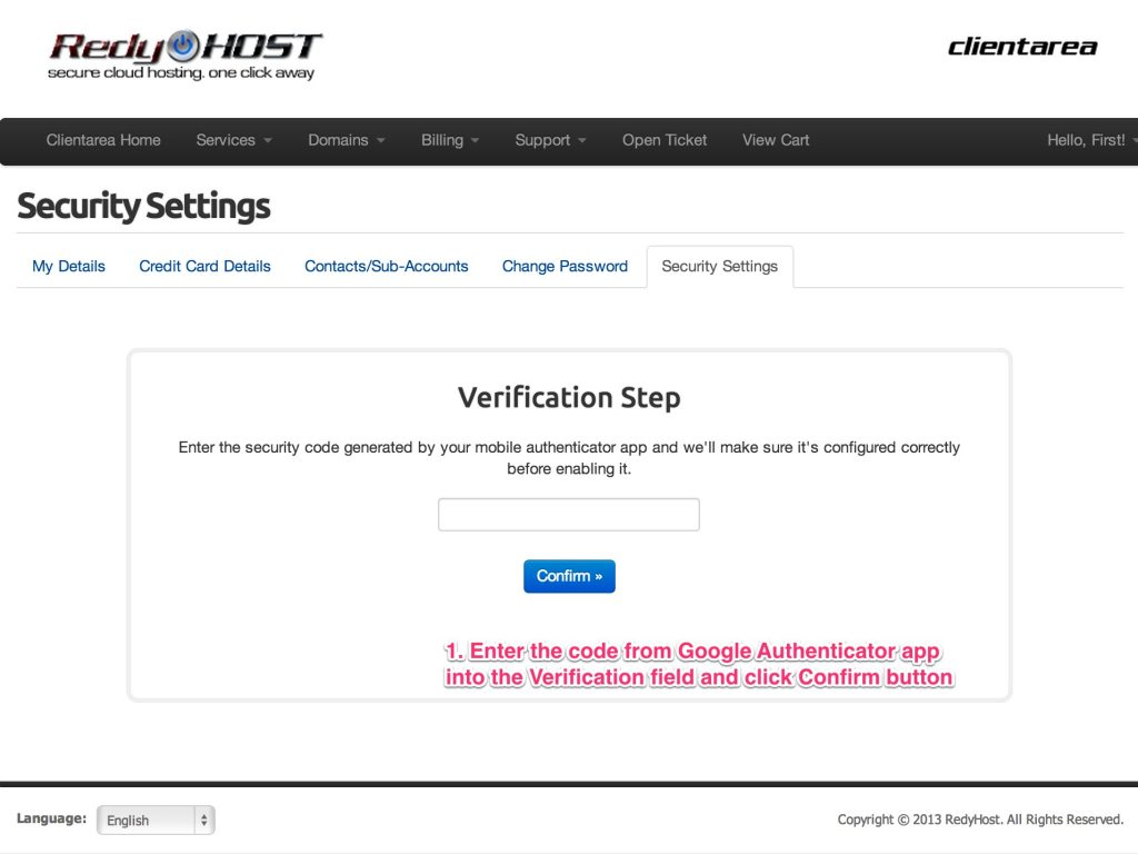 Verify your setup by entering the verification code