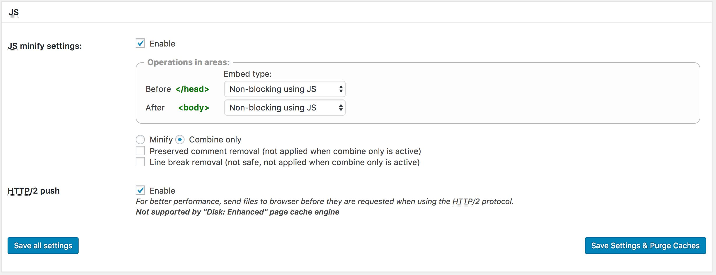 Recommended settings for W3 Total Cache plugin - RedyHost